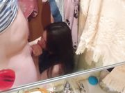 En hurtig oralsex med min kæreste i badeværelset